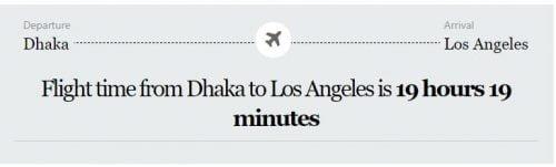 Dhaka to Los Angeles
