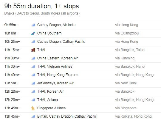 Flight from Dhaka to South Korea Information